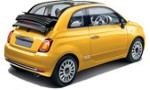 SA Fiat 500 cabrio for hire at Malaga airport